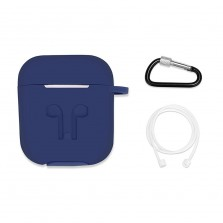 Iends AirPods Case with Strap Protective Silicone Cover with Carabiner
