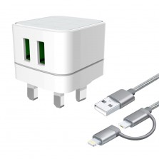 Dual USB Travel Charger With 2 In 1 Cable