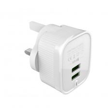 Dual Port Adapter With Detachable  Wall Plug
