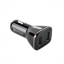 Dual USB Port QC 3.0 Car Charger With Type-C Cable