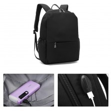 Business Travel 15.6 Inch Laptop Slim Backpack with USB Port, Black