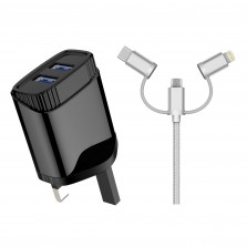 Dual Port Wall Charger with 3 in 1 Cable