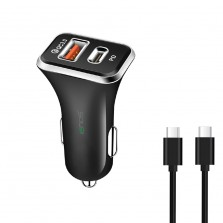 Car Charger with Dual Port (Type-C and USB)